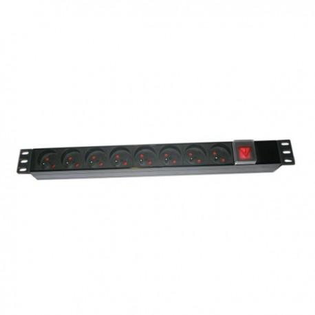 """ZASUVKA8B-19 - Rozvodný napájecí panel 8x230V, 50Hz, RACK 19"""", vypínač"""