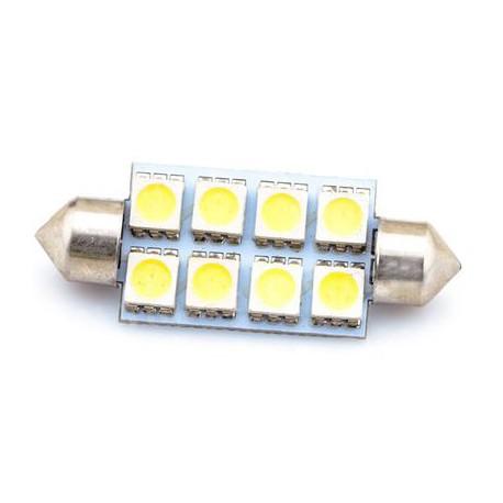 8SMD-5050 - LED auto žárovka s paticí C5W 12V, 41mm (sufit)