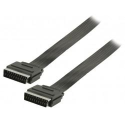YANL Plochý kabel SCART, zástrčka SCART – zástrčka SCART, 1,00 m, černý
