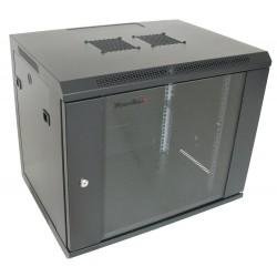 """XtendLan WS-9U-64-BLACK-P - (NETXTE5808) - Rozvaděč, RACK 19"""", na stěnu, jednodílný, výška 9U, 600 x 450, skleněné dveře, černý"""