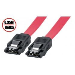 30AWG datový k HDD SATA 3.0. 1xHDD, 0.35m, západky, červený