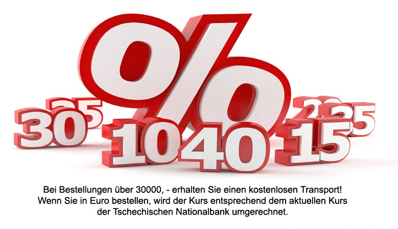 Bei Bestellungen über 30000, - erhalten Sie einen kostenlosen Transport! Wenn Sie in Euro bestellen, wird der Kurs entsprechend dem aktuellen Kurs der Tschechischen Nationalbank umgerechnet.