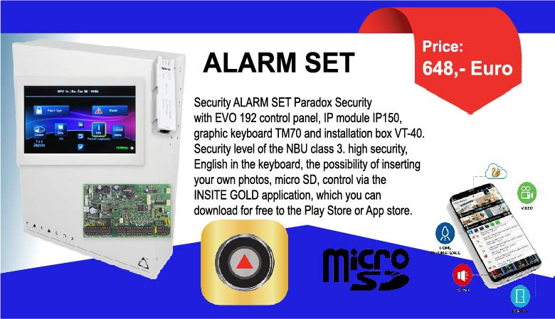 Security ALARM SET Paradox Security with EVO 192 control panel
